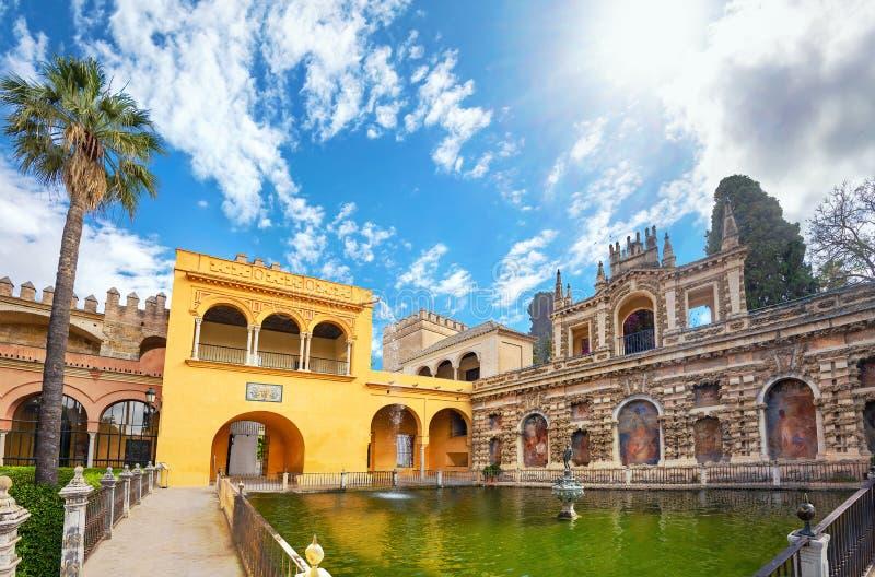 Spain Andalucia Seville Alcazar Mercury Pond stock images