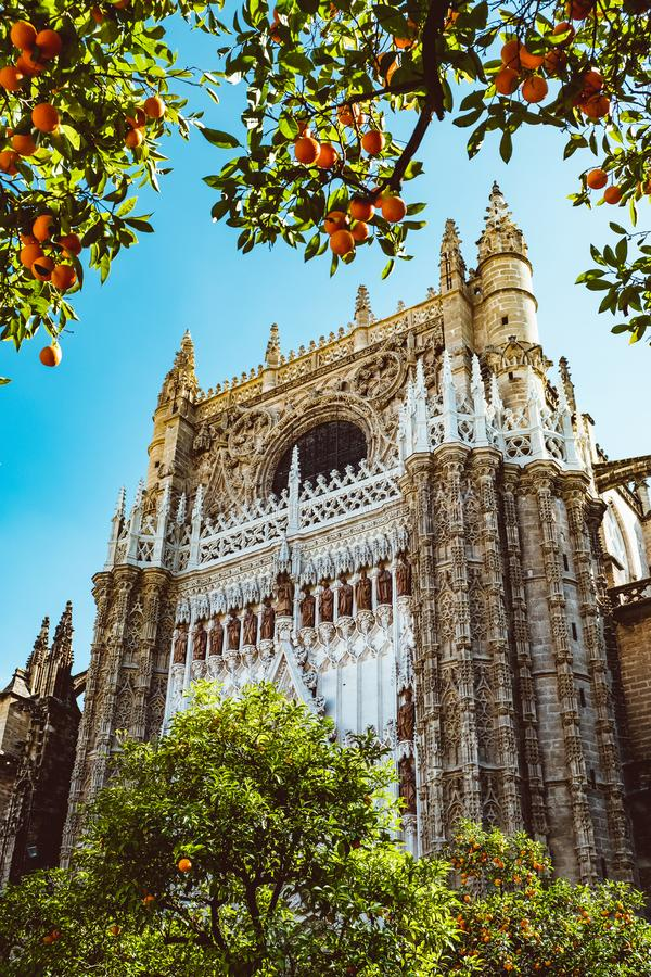 Free Spain, Andalusia, Seville, The Cathedral Bell Tower Seen From The Orange Tree Courtyard Stock Photography - 147177702