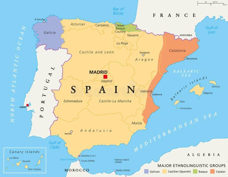 Spain Autonomous Communities Political Map Stock Vector