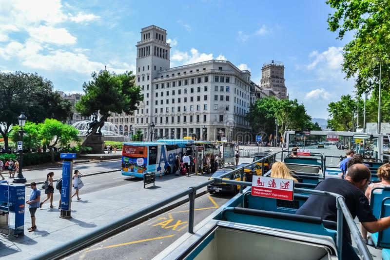 Spain Barcelona July 2017 blue tourist bus. city tour sightseeing.  royalty free stock photography