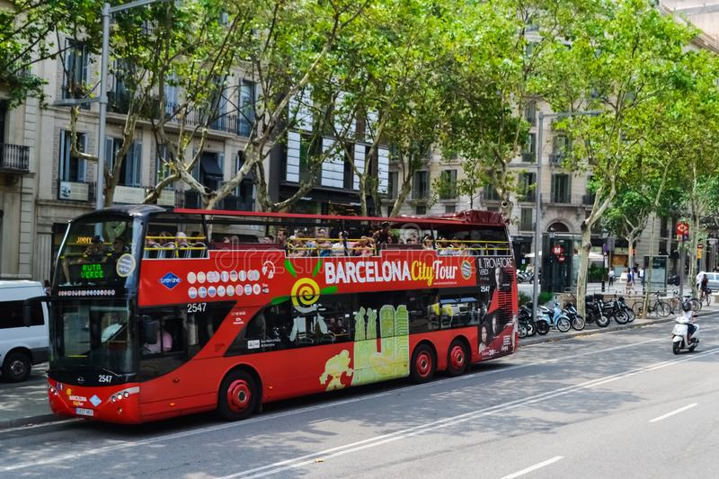 Spain Barcelona July 2017 red tourist bus. city tour sightseeing.  royalty free stock photos