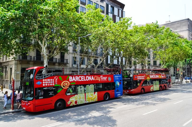 Spain Barcelona July 2017 red tourist bus. city tour sightseeing.  stock photos