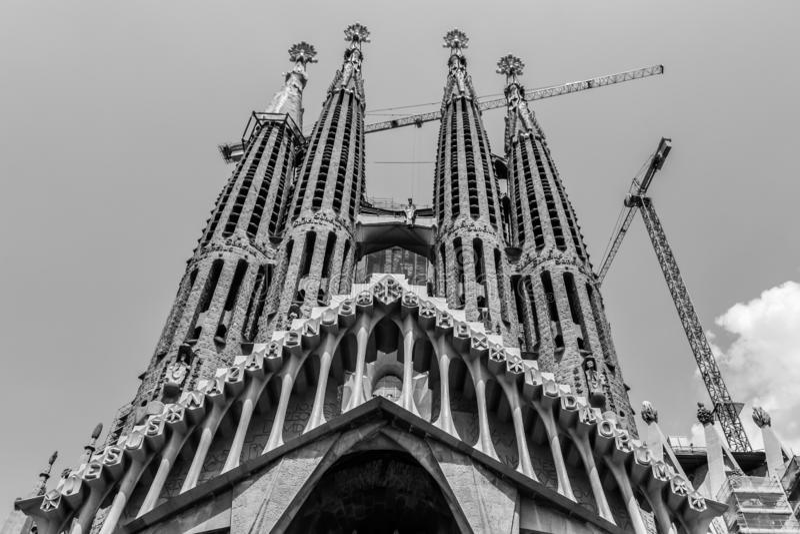 Spain Barcelona July 2017. Sagrada Familia attraction construction cranes. monochrome royalty free stock image