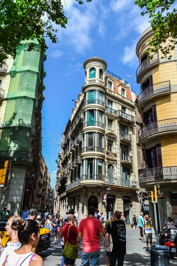 Spain Barcelona July 15, 2017. streets crowded with people, the historic district of the city for walks royalty free stock photos