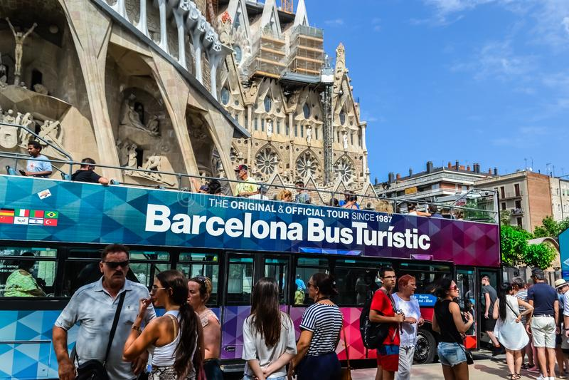 Spain Barcelona July 2017. tourist walking bus, sightseeing. Sagrada Familia stock image