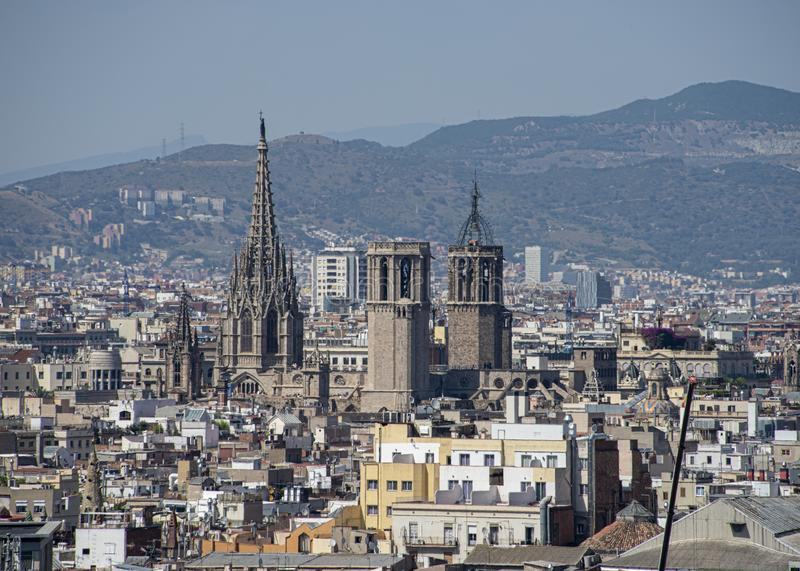 Panorama of the historical center of Barcelona royalty free stock photos