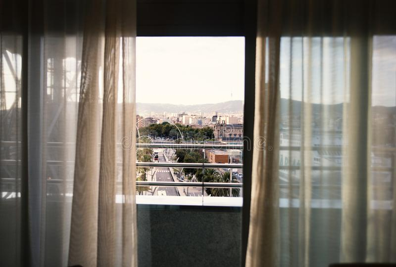 Spain, Barselona - November 19, 2013. View of the city from the window of the room stock images