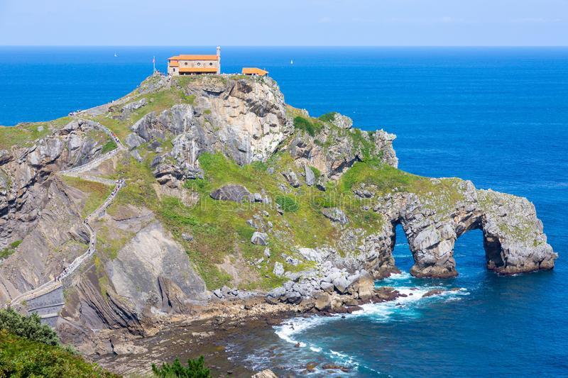 Spain, Basque country, San Juan de Gaztelugatxe, view of islet royalty free stock photo
