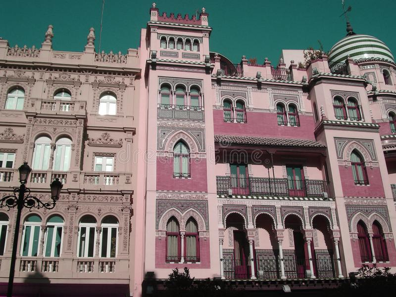 Historical pink building in Seville, Spain. Historical pink building in arabic style in Seville, Spain stock photos
