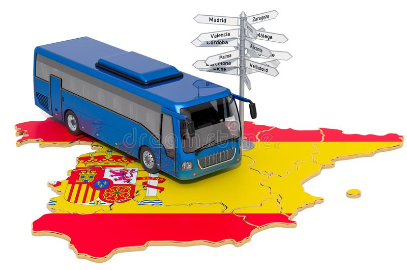 Spain Bus Tours concept. 3D rendering. Isolated on white background vector illustration