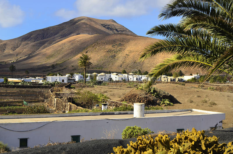 Spain, Canary Island. Spain, Lanzarote, landscape around yaiza with volcanic cone royalty free stock photos