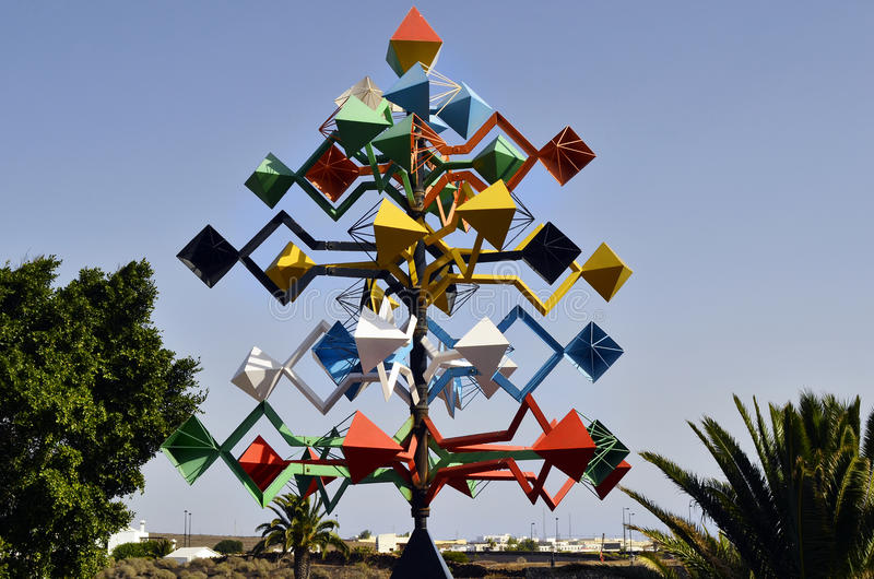 Spain, Canary Island. Tahiche, Canary Island - January 19th 2012: Wind chime, artwork bult from Cesar Manrique, the most importand artist in Lanzarote who built stock photos