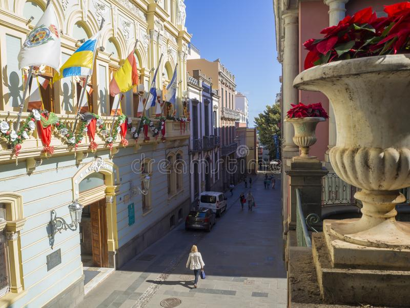 Spain, Canary islands, Santa Cruz de Tenerife, December 27, 2017: view on street in city center with christmas decoration, coloful. Garland and christmas star royalty free stock photo