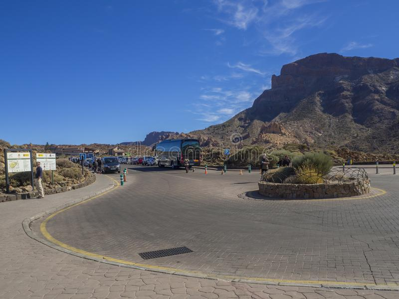 Spain, Canary islands,Tenerife, El Teide national park, December. 21, 2017, traffic circle on parking at Roque Cinchado famous pitoresque rock formation Roques royalty free stock photos