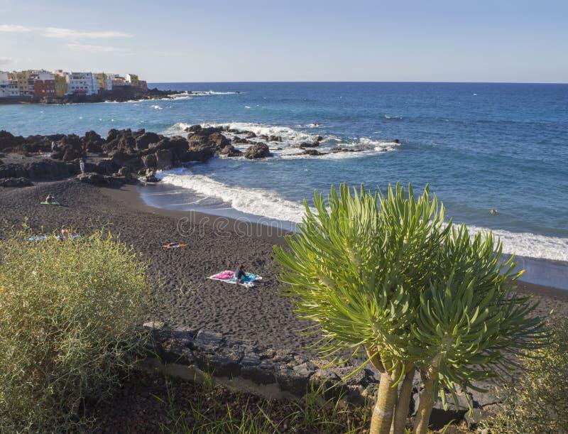Spain, Canary islands, Tenerife, Puerto de la cruz, December 23, 2017, view on Playa Jardin beach with blue sea horizon, r. Ocks, palm trees nad colorful houses stock image