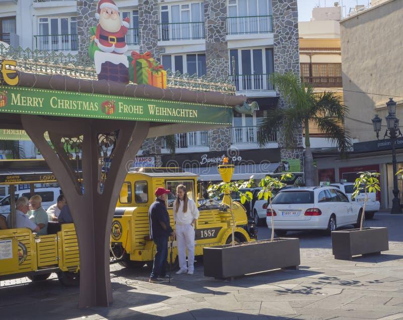 Spain, Canary islands, Tenerife, Puerto de la cruz, December 23, 2017: tourist train to loro parque, waiting people at royalty free stock photo