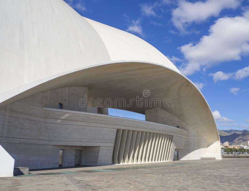 Spain, Canary islands, Tenerife, Santa Cruz de Tenerife, December 27, 2017: Detail of Auditorio de Tenerife on sunny day built in. 2003 futuristic, inspired in stock image