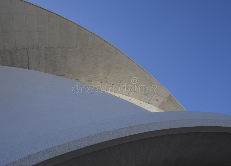 Spain, Canary islands, Tenerife, Santa Cruz de Tenerife, December 27, 2017: Detail of Auditorio de Tenerife on sunny day built in. 2003 futuristic, inspired in royalty free stock photos