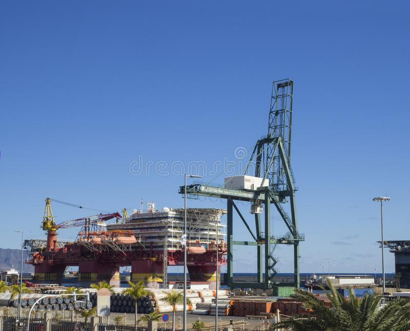 Spain, Canary islands, Tenerife, Santa Cruz de Tenerife, December 27, 2017: Flotel, Floatel Reliance platform, floating hotel wit. H huge crane and cargo in in stock images