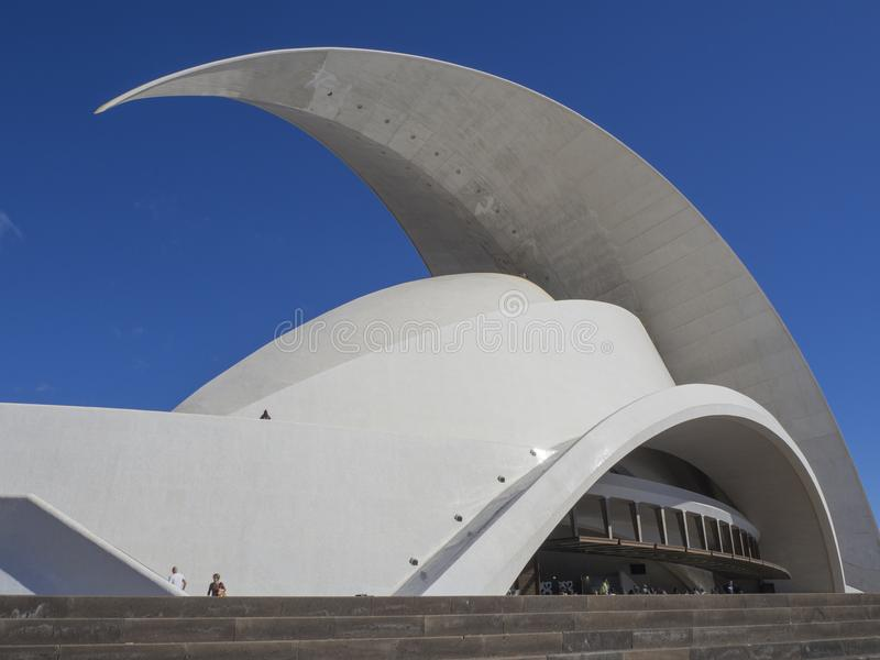 Spain, Canary islands, Tenerife, Santa Cruz de Tenerife, December 27, 2017: Auditorio de Tenerife, sunny day, built in. 2003 futuristic, inspired in organic royalty free stock photo