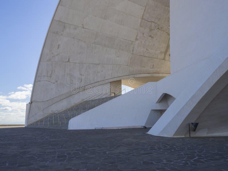 Spain, Canary islands, Tenerife, Santa Cruz de Tenerife, December 27, 2017: Detail of Auditorio de Tenerife on sunny day built in. 2003 futuristic, inspired in stock photos