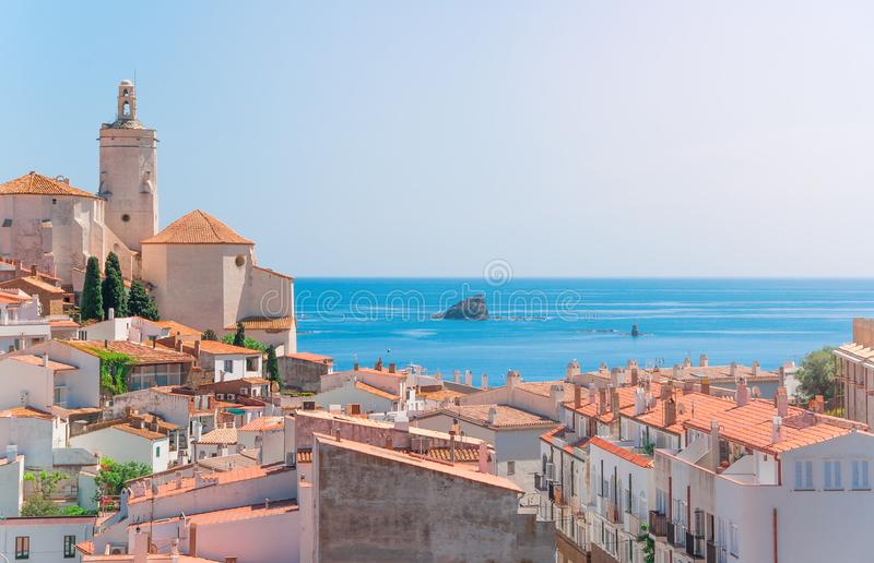 Spain. Catalonia. Cadaques on the Costa Brava. The famous tourist city of Spain. Nice view of the sea. City landscape. royalty free stock photos