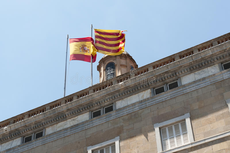 Download Spain and Catalonia flags stock photo. Image of roof - 27006404