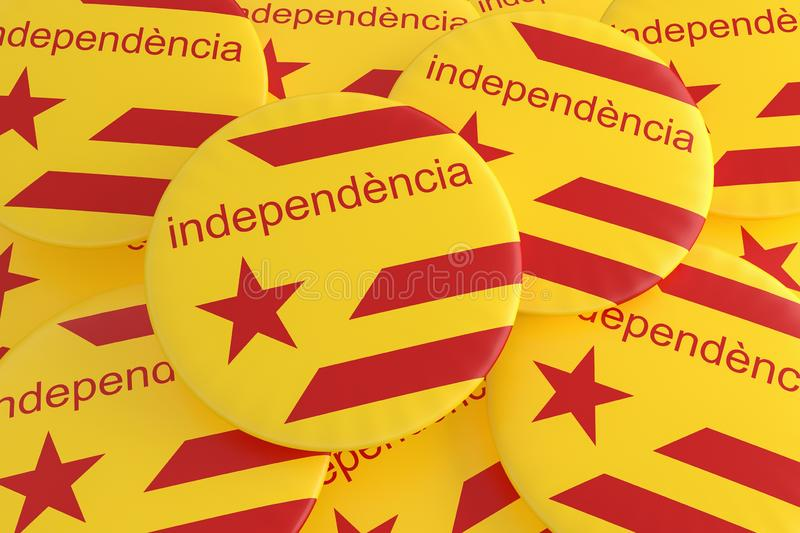 Estelada Flag Badges With Word Independence In Catalan Language, 3d illustration. Spain Catalonia Independence Movement Concept: Estelada Flag Badges With Word royalty free illustration