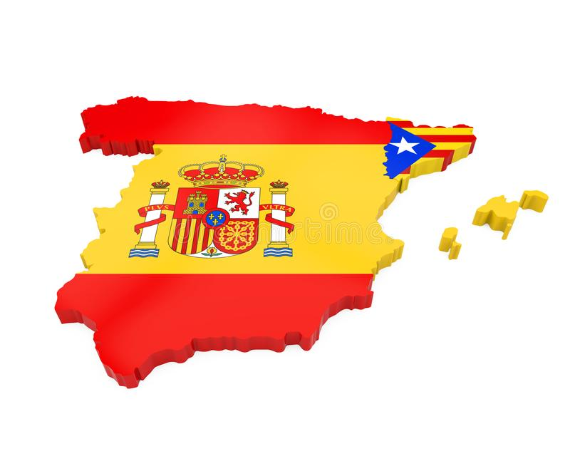 Spain and Catalonia Map Isolated vector illustration