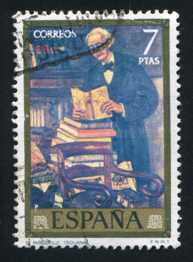 Bibliophile by Gutierrez Solana. SPAIN - CIRCA 1972: stamp printed by Spain, shows Painting `Bibliophile` by Gutierrez Solana, circa 1972 royalty free stock image