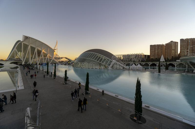 Spain, The City of Arts and Sciences of Valencia sunset royalty free stock photo
