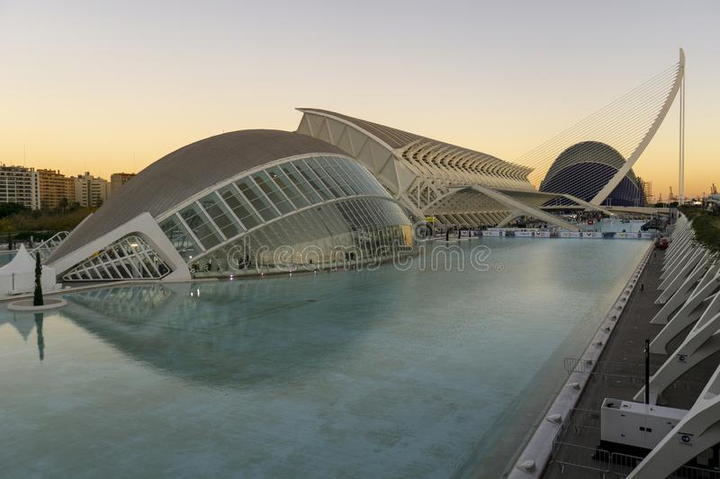 Spain, The City of Arts and Sciences of Valencia sunset royalty free stock photography