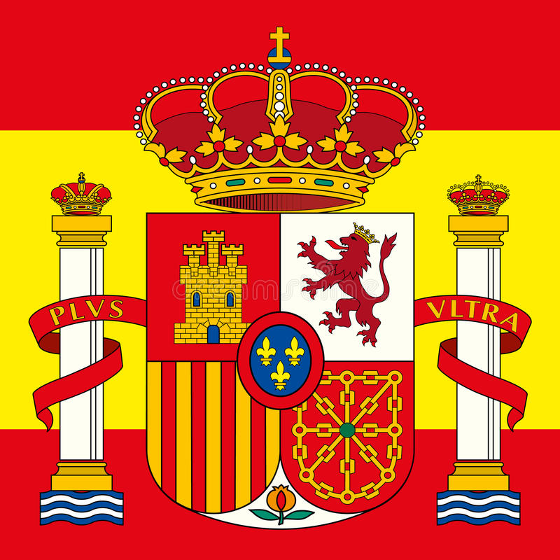Spain coat of arm and flag stock illustration