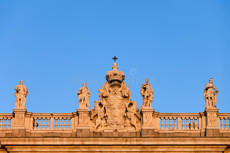 Spain Coat of Arms on Royal Palace in Madrid royalty free stock images