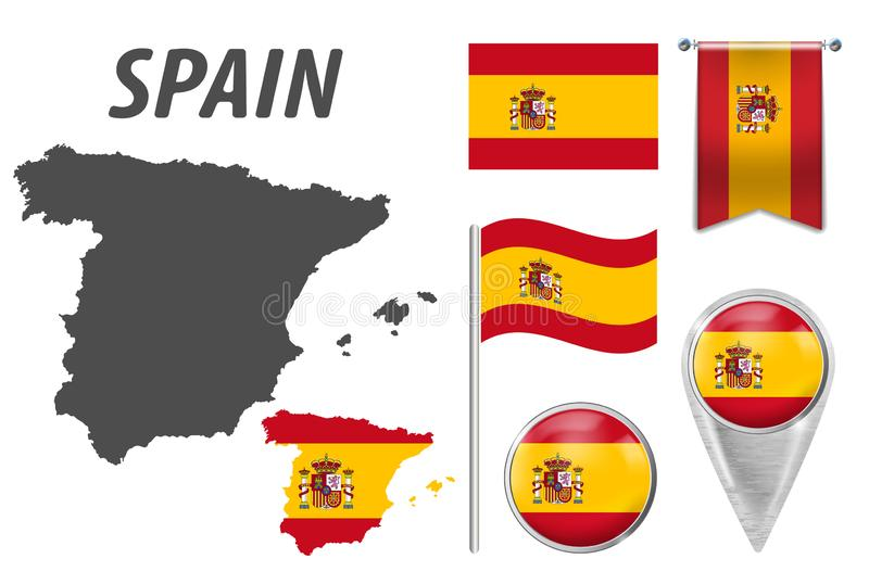 SPAIN. Collection of symbols in colors national flag on various objects isolated on white background. Flag, pointer stock illustration