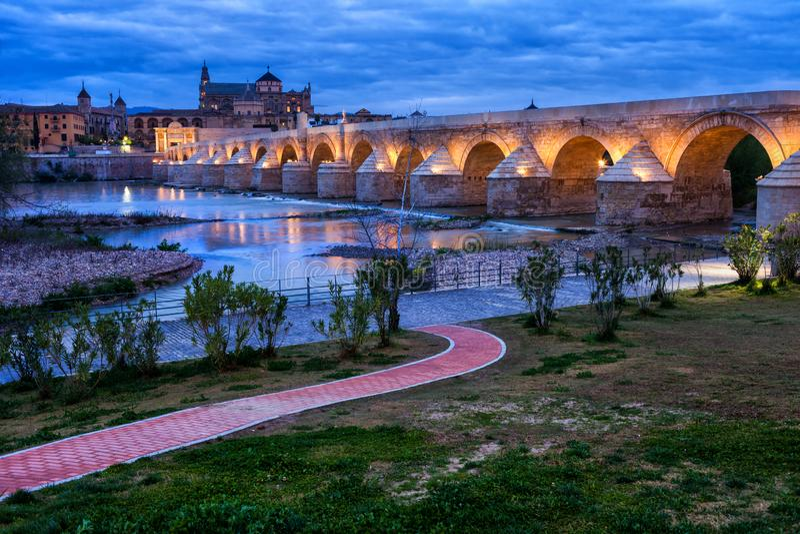 Roman Bridge on Guadalquivir River in Cordoba royalty free stock photo
