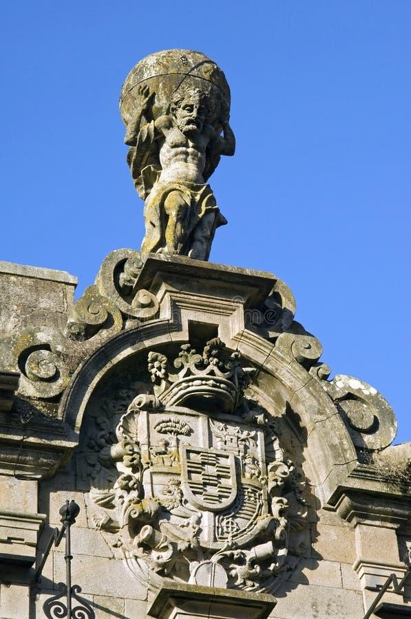 Mythological figure Atlas on palace Marquis Bendana stock photo