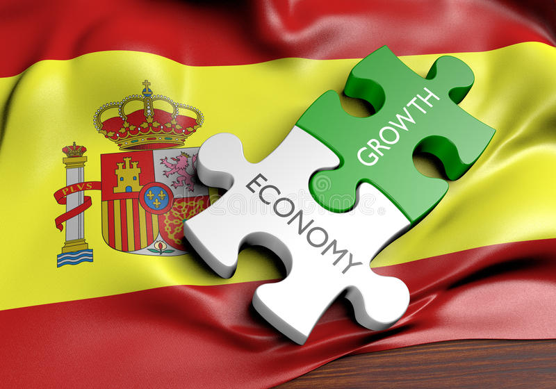 Spain economy and financial market growth concept. 3D rendered concept of Spain`s economy and financial market growth royalty free illustration