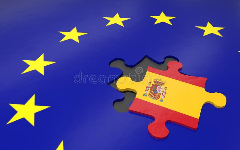 Spain and EU. 3d illustration. Puzzle piece with Spain flag royalty free illustration