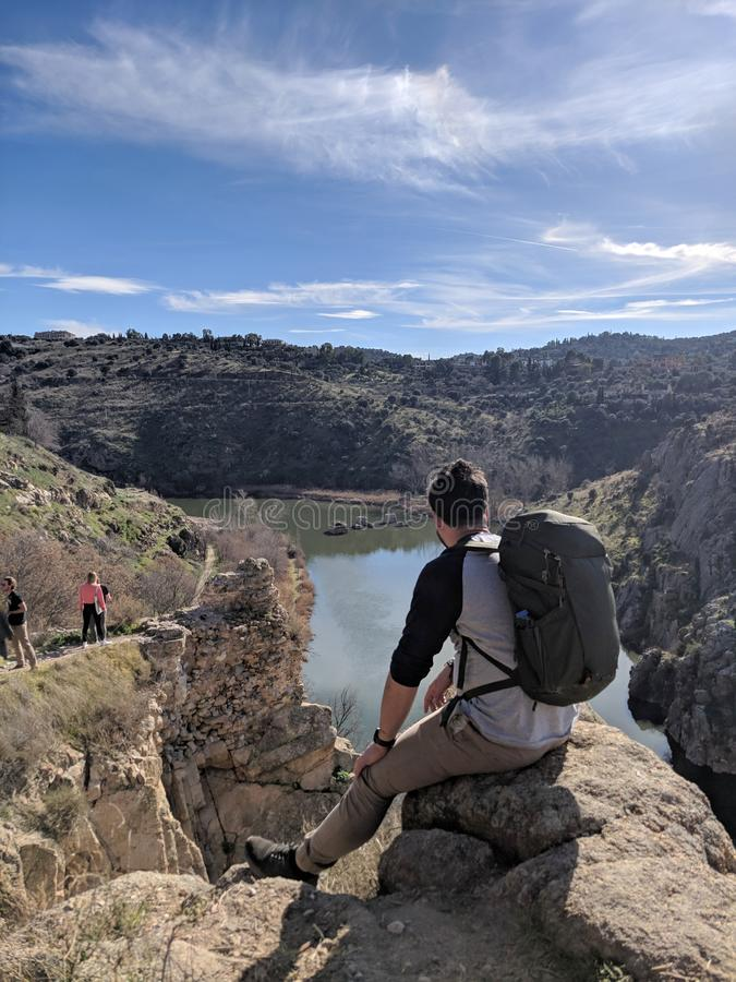 SPAIN, February 2019, Tourist at beautiful gorges of Toledo. SPAIN, February 2019 Tourist at beautiful gorges of Toledo stock photography
