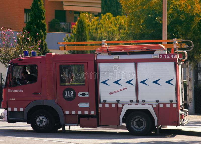 Spain firefighters special red-white colour. Spain, Leora de Mar - October 4, 2017: Spain firefighters special red-white colour, fire engine with extendable stock photo