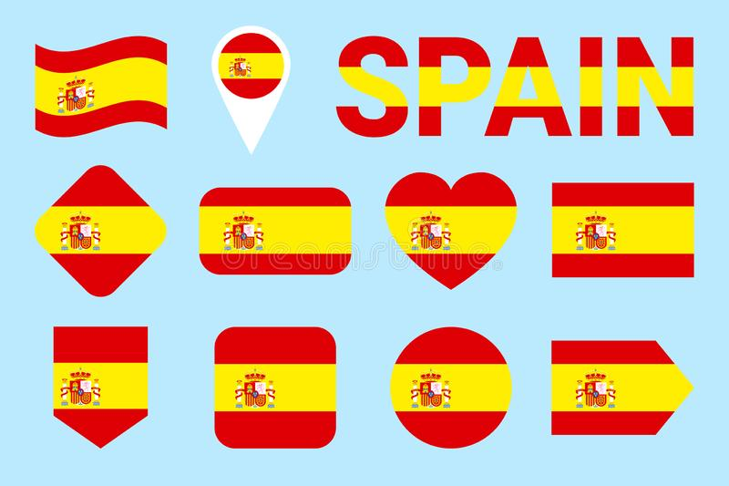 Spain flag collection. Spanish flags set. Vector flat isolated icons with state name. Web, sports pages, language courses, nationa stock illustration
