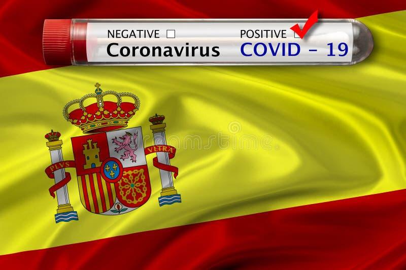 Spain flag and Coronavirus stock photo