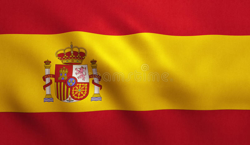 Spain Flag. With fabric texture. 3D illustration vector illustration