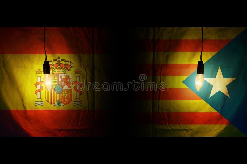 Spain flag and half catalan flag. Vote referendum for catalonia independence exit national crisis separatism risk concept.  royalty free illustration