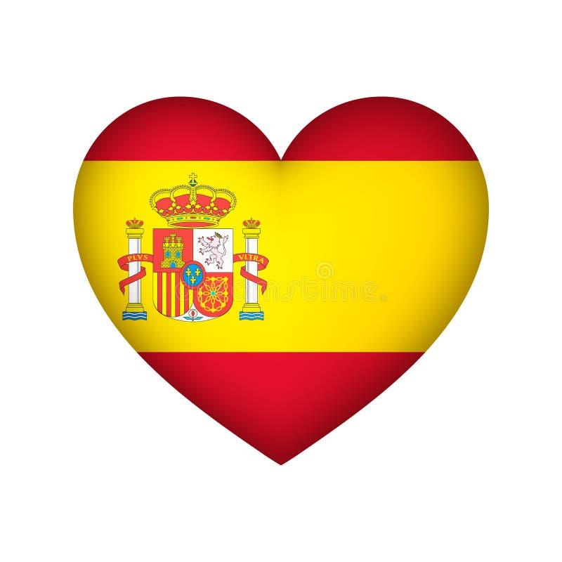 Spain Flag Heart shape vector illustration design.  stock illustration