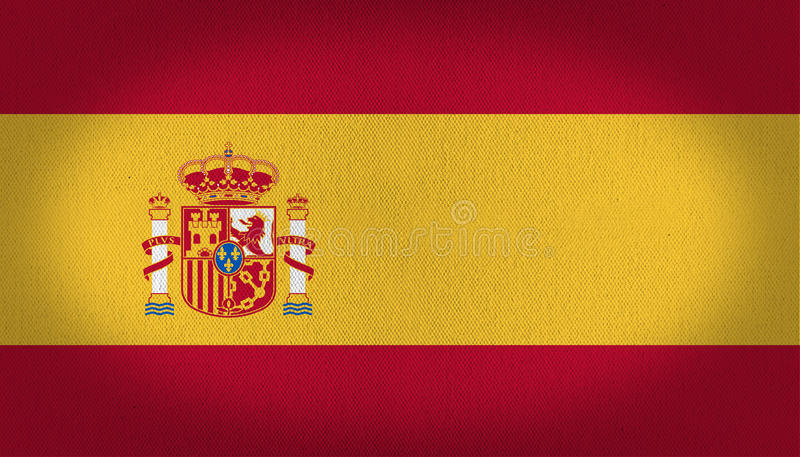 Spain flag. Rad and yellow spain flag, arms crest at the center left side of this fabric texture background vector illustration