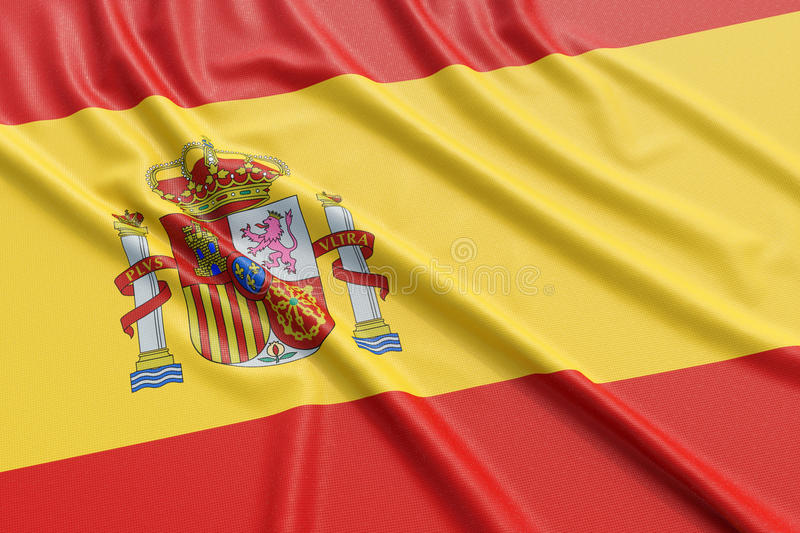 Spain flag. Wavy fabric high detailed texture. 3d illustration rendering stock illustration