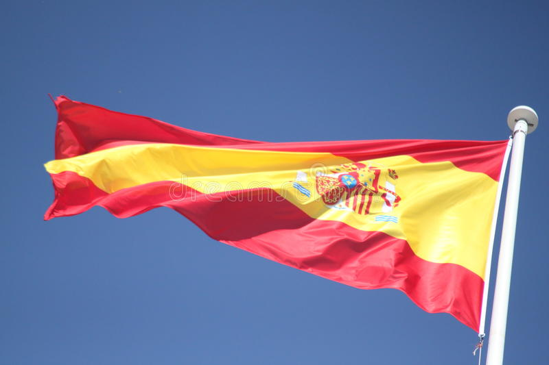 Spain flag. On a windy day stock photo