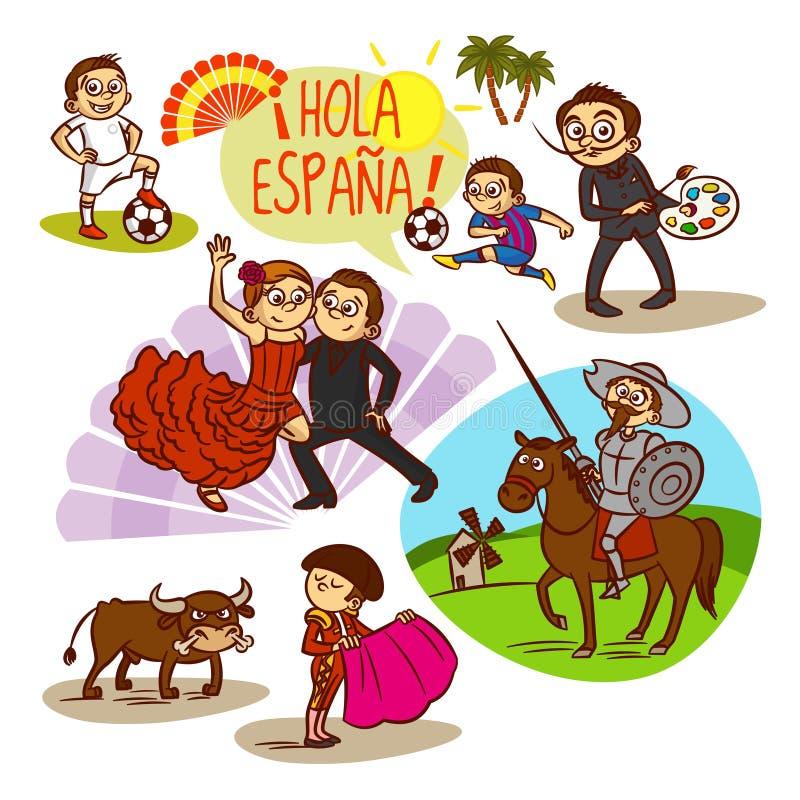 spain flamenco Corrida Fotboll lopp vektor illustrationer